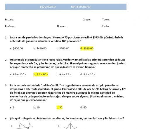 Exámenes 2do trimestre Matemáticas 1 Secundaria