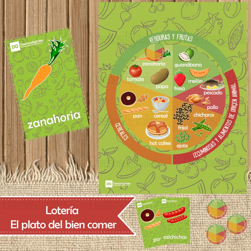 loteria del plato del bien comer para niños