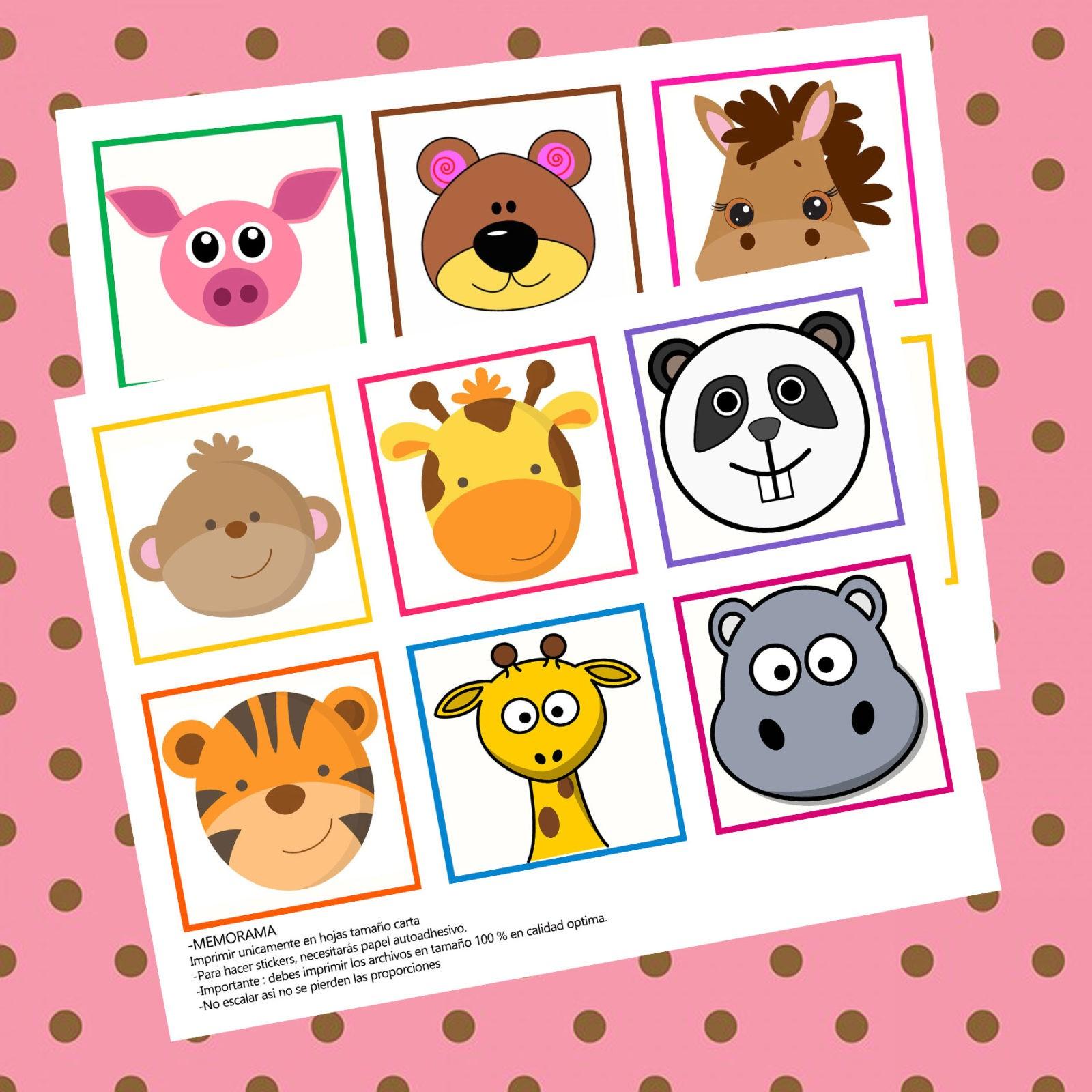 ejemplo de memorama de animales para imprimir