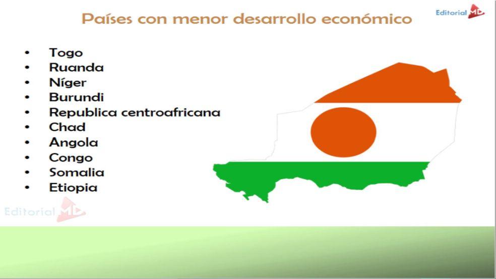 países con mayor y menor desarrollo económico