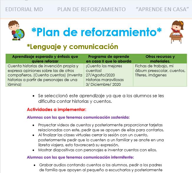 plan de reforzamiento para preescolar