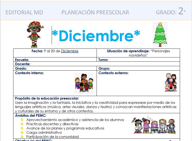 planeacion de diciembre para preescolar 2019