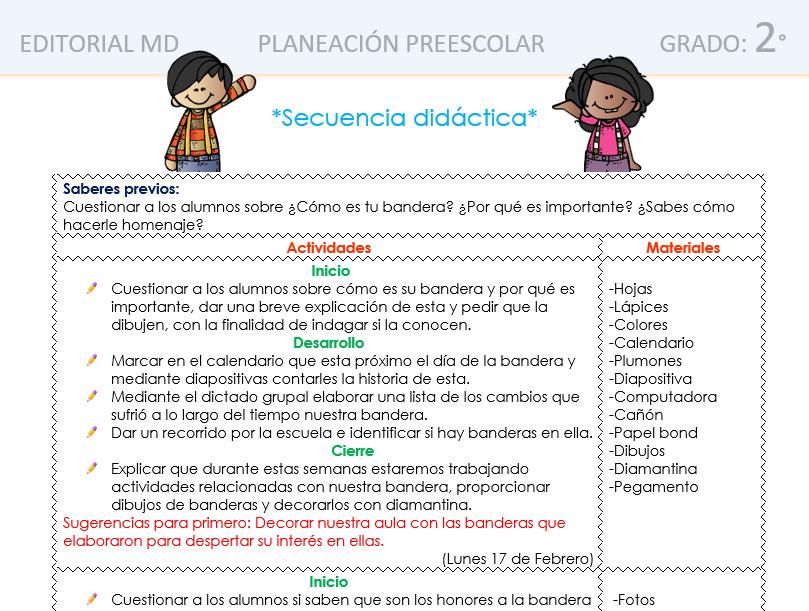 planeacion de febrero de día de la bandera para preescolar