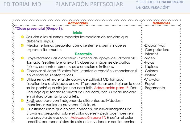 planeación híbrida de septiembre preescolar