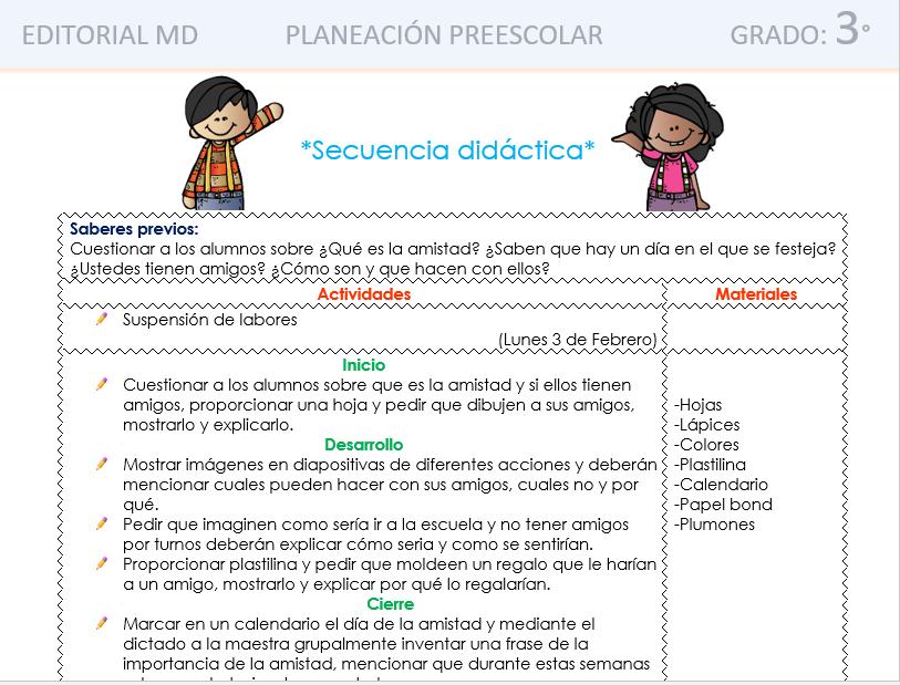 planeaciones del dia de la amistad para preescolar