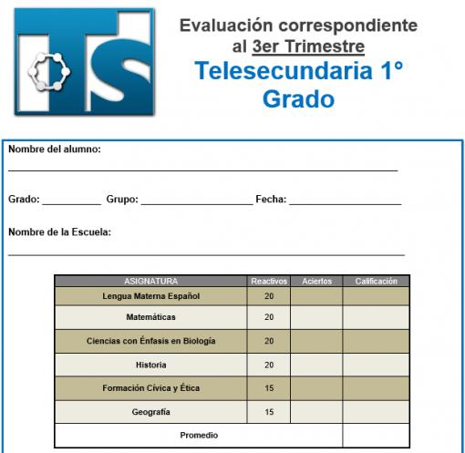 Exámenes 1° de Telesecundaria 3er Trimestre del Nuevo Modelo Educativo 01