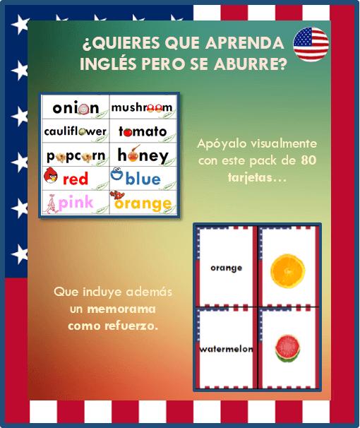 Memorama en Ingles + Minitarjetas en Ingles Ilustradas