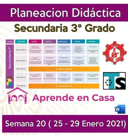 Planeación Secundarias Generales, Técnicas y Telesecundaria (3er Grado) Semana 20 (25 al 29 de Enero 2021)