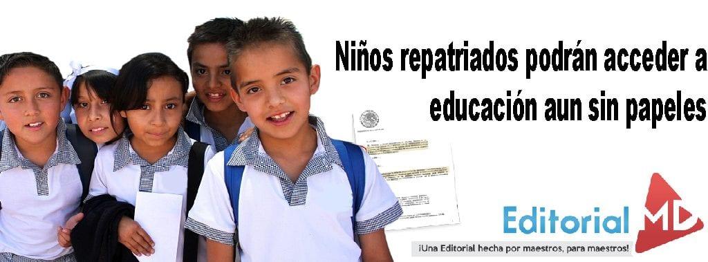 reinscripción a educacion para niños repatriados