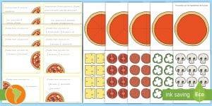 Tarjetas de matemáticas: ¡Las fracciones con pizza!