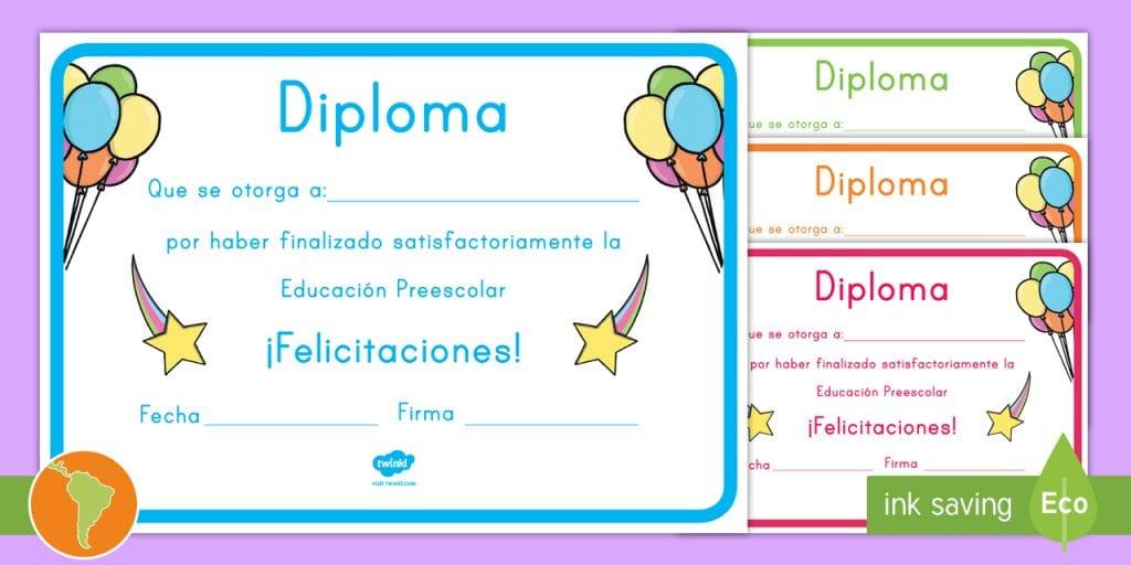 Certificados para la graduación de preescolar