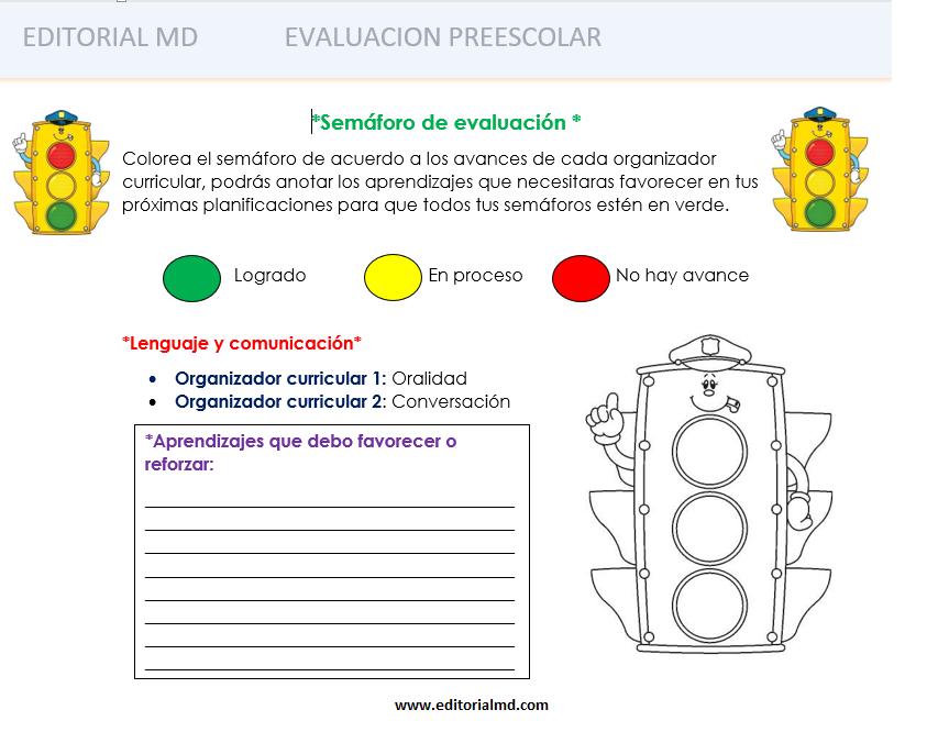 semáforo de evaluación preescolar