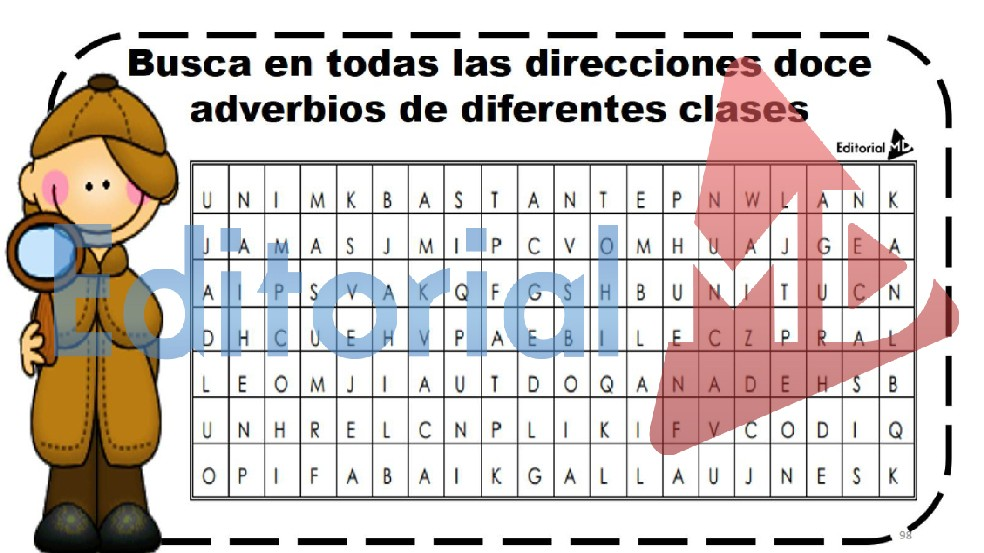 sopa de letras de adverbios